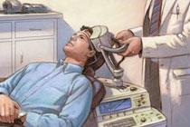Транскраниальная магнитная стимуляция мозга, иллюстрация с сайта columbia.edu