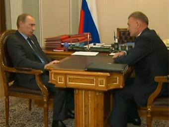 Встреча Владимира Путина и Олега Ковалева. Кадр Первого канала